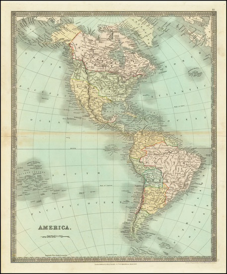 44-North America, South America and America Map By Henry Teesdale