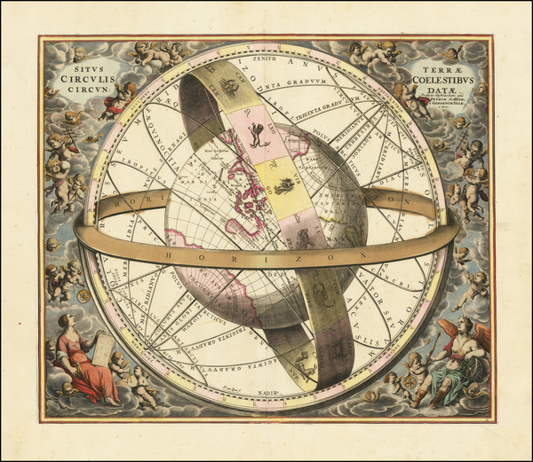 39-Pacific, Australia, California and Celestial Maps Map By Andreas Cellarius / Valk & Schenk