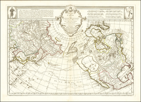 2-Polar Maps, Alaska, North America, Pacific, Russia in Asia and Canada Map By Philippe Buache /