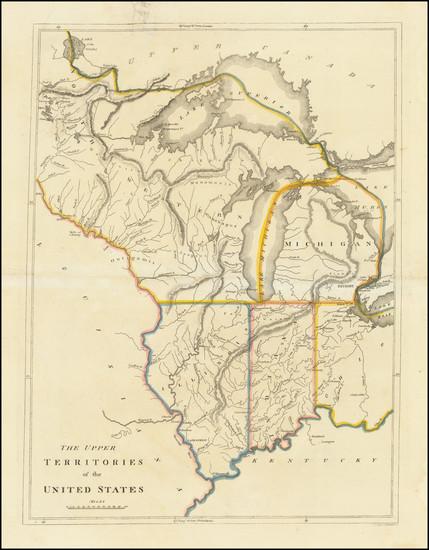 96-Midwest, Illinois, Indiana, Michigan and Plains Map By Mathew Carey