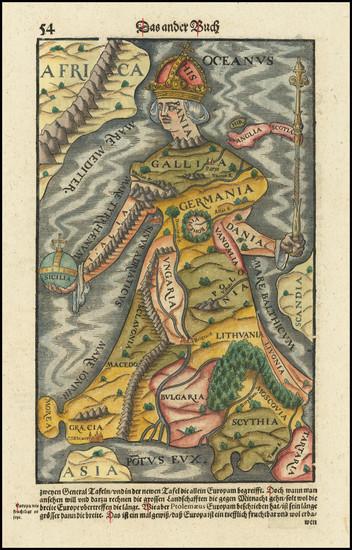 9-Europe and Comic & Anthropomorphic Map By Sebastian Munster