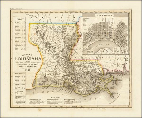 36-Louisiana Map By Joseph Meyer  &  Carl Radefeld