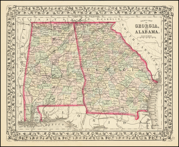 98-Alabama and Georgia Map By Samuel Augustus Mitchell Jr.