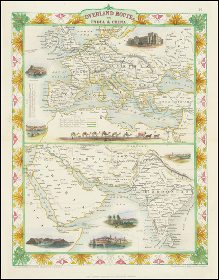 69-Europe, India, Central Asia & Caucasus and Middle East Map By John Tallis