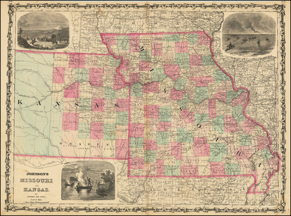 24-Kansas and Missouri Map By Alvin Jewett Johnson  &  Benjamin P Ward