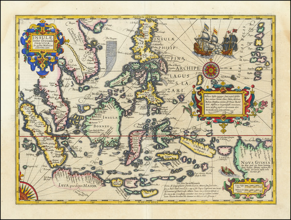 28-Southeast Asia, Philippines, Indonesia and Malaysia Map By Jodocus Hondius
