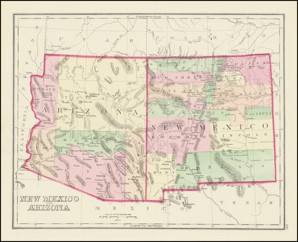 33-Arizona and New Mexico Map By O.W. Gray