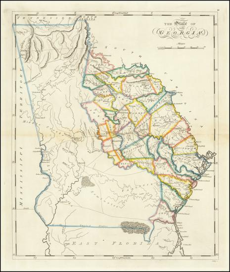 78-Georgia Map By Mathew Carey