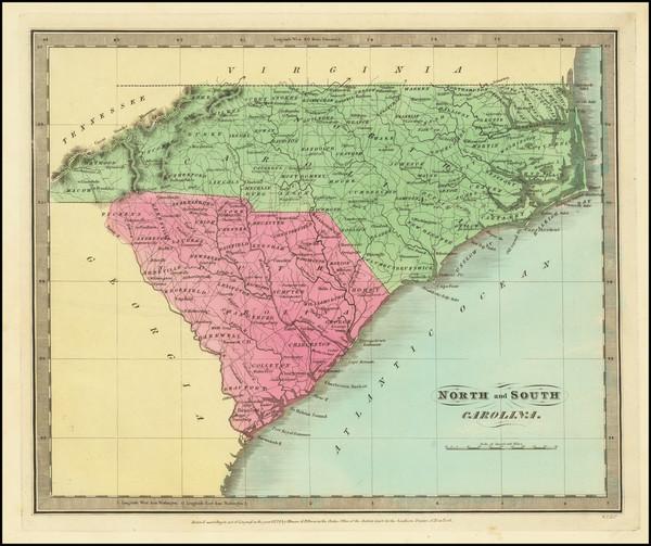 80-North Carolina and South Carolina Map By David Hugh Burr