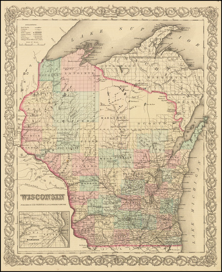 81-Wisconsin Map By Joseph Hutchins Colton