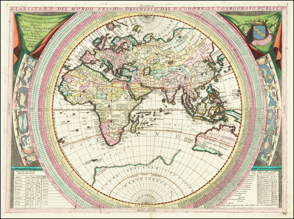 34-Eastern Hemisphere, Indian Ocean, Asia, Africa, Pacific and Australia Map By Vincenzo Maria Cor