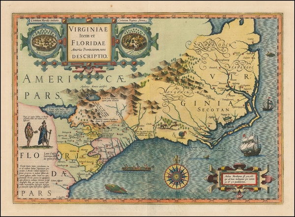 44-Mid-Atlantic and Southeast Map By Jodocus Hondius