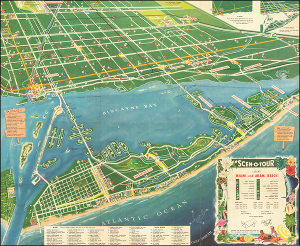 53-Florida and Pictorial Maps Map By Scenotour Publishing Co.