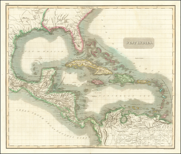 78-Florida, Southeast, Caribbean and Central America Map By John Thomson