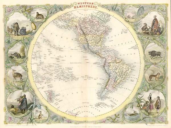 2-World, World, Western Hemisphere, South America and America Map By John Tallis