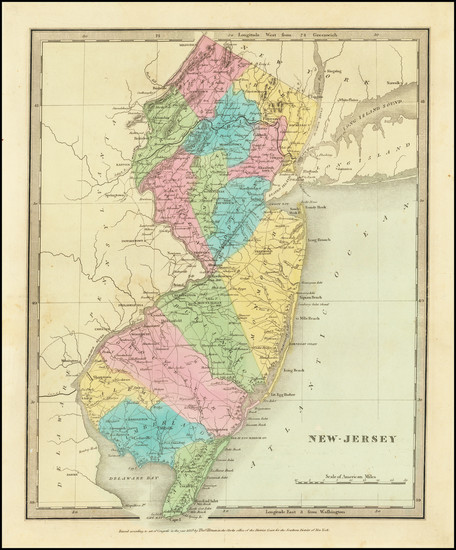 76-New Jersey Map By David Hugh Burr