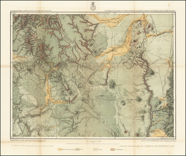 36-Colorado, New Mexico and Colorado Map By George M. Wheeler