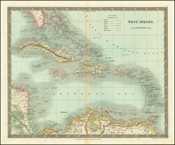 86-Caribbean Map By Henry Teesdale