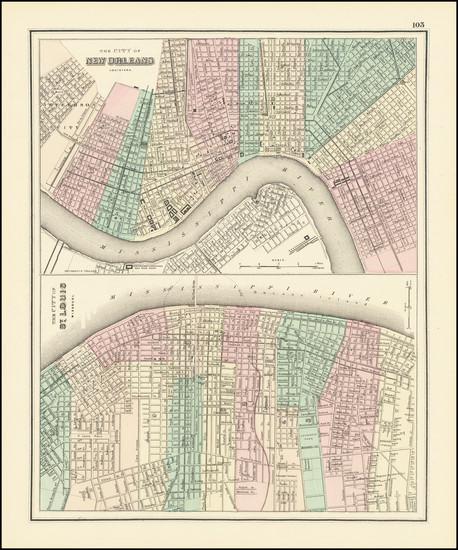 54-Louisiana and Missouri Map By O.W. Gray