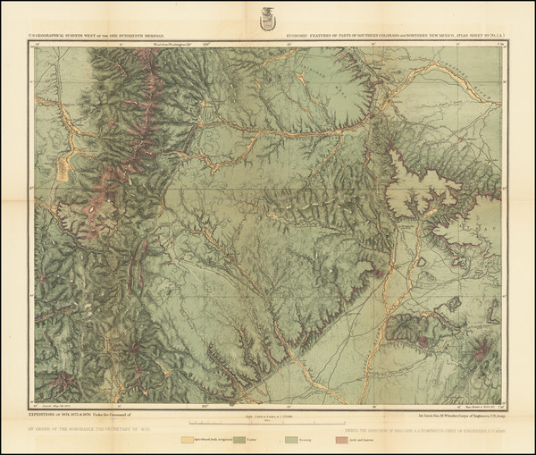 41-Southwest, New Mexico, Rocky Mountains and Colorado Map By George M. Wheeler