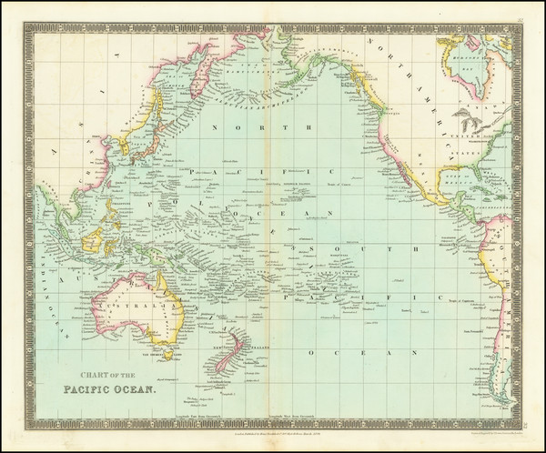 86-Pacific Ocean and Pacific Map By Henry Teesdale