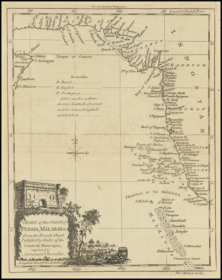 38-Indian Ocean and India Map By Thomas Kitchin / London Magazine