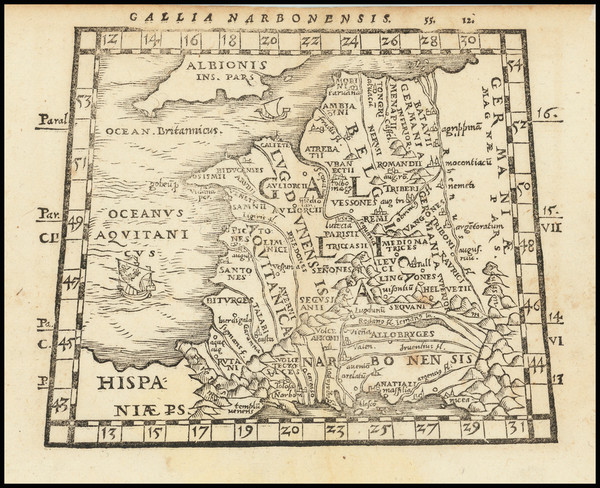 38-France Map By Johann Honter