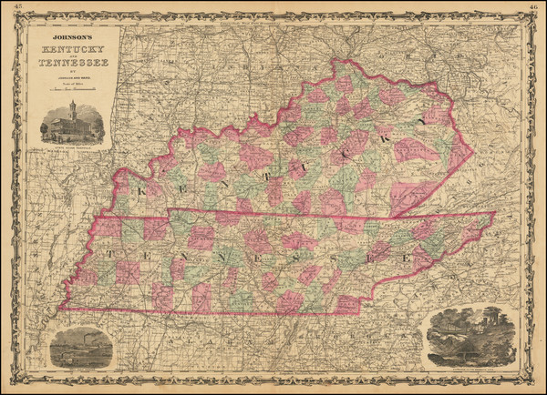 96-Kentucky and Tennessee Map By Benjamin P Ward  &  Alvin Jewett Johnson