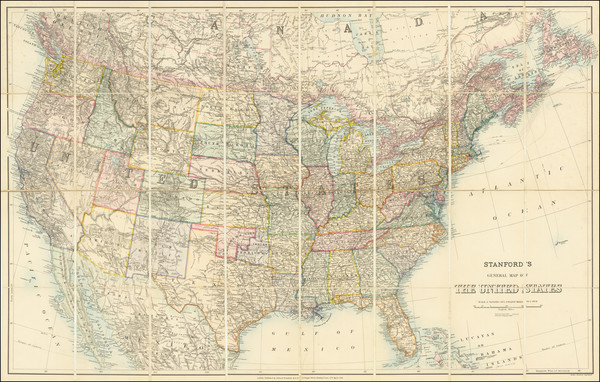44-United States Map By Edward Stanford