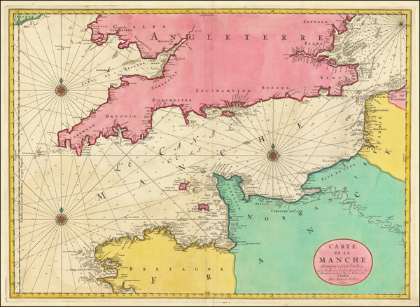 75-British Isles and France Map By Alexis-Hubert Jaillot