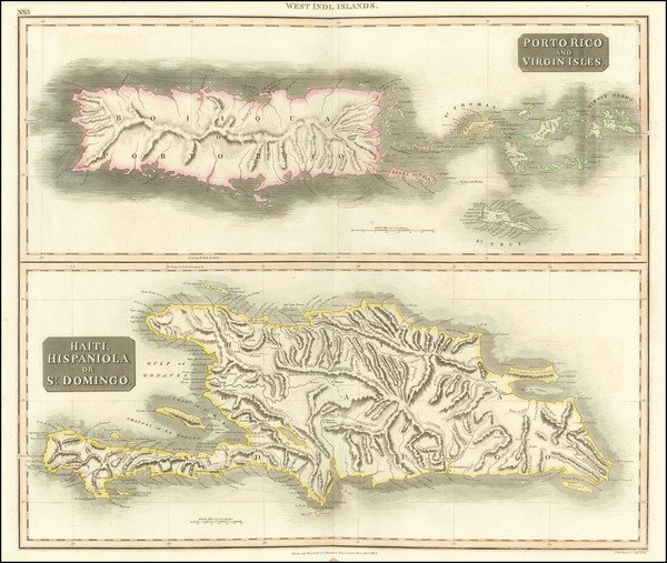 55-Caribbean, Hispaniola, Puerto Rico and Virgin Islands Map By John Thomson