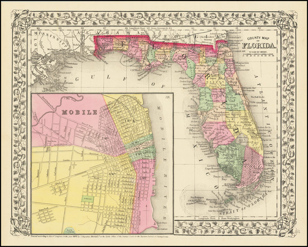76-Florida and Alabama Map By Samuel Augustus Mitchell Jr.