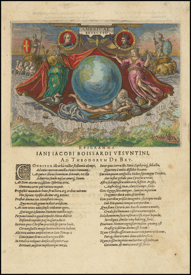 95-World, Western Hemisphere, Atlantic Ocean and Curiosities Map By Theodor De Bry