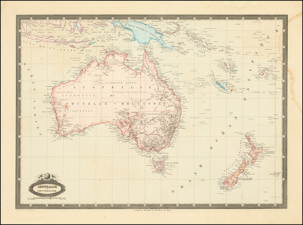 55-Australia & Oceania, Australia, Oceania and New Zealand Map By F.A. Garnier