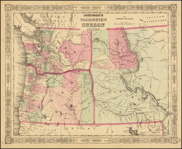 91-Idaho, Oregon and Washington Map By Benjamin P Ward  &  Alvin Jewett Johnson