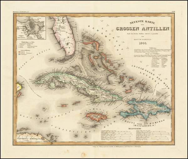 94-Caribbean, Cuba and Bahamas Map By Joseph Meyer