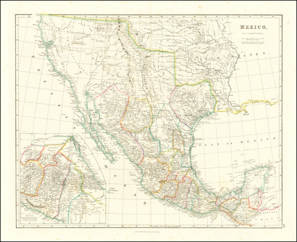 34-Texas, Southwest, Rocky Mountains, Mexico and California Map By John Arrowsmith