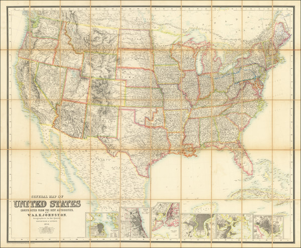 63-United States Map By W. & A.K. Johnston