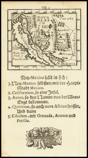 100-Baja California, California and California as an Island Map By Johann Ulrich Muller