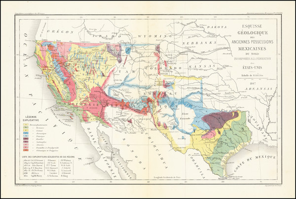 44-Texas, Plains, Southwest, Rocky Mountains and California Map By Edmond Guillemin-Tarayre
