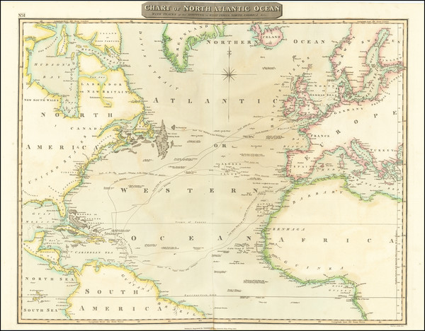 36-Atlantic Ocean Map By John Thomson