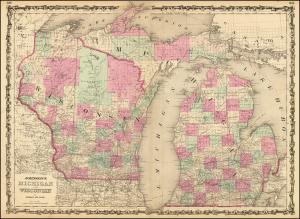 65-Michigan and Wisconsin Map By Alvin Jewett Johnson
