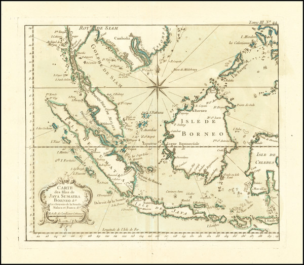 82-Indonesia and Malaysia Map By Jacques Nicolas Bellin