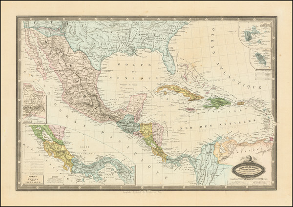 59-Southeast, Arizona, New Mexico, Mexico, Caribbean and Central America Map By F.A. Garnier
