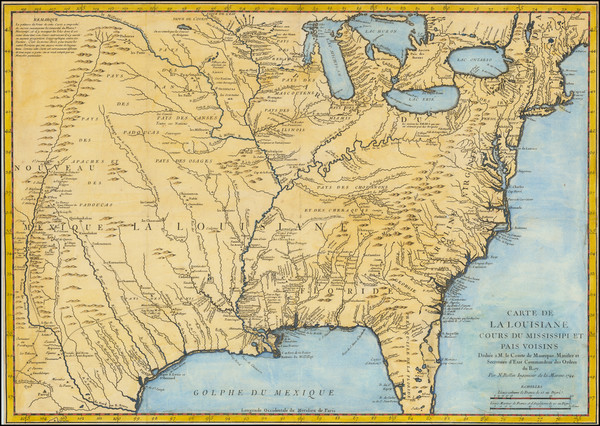 16-United States, South, Southeast, Midwest, Plains and Canada Map By Jacques Nicolas Bellin