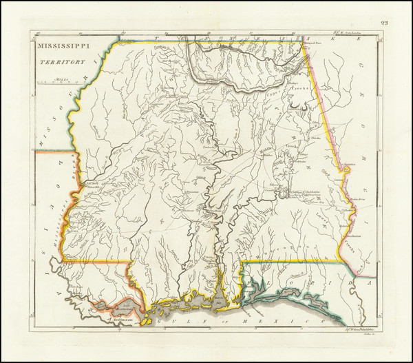 7-South, Alabama and Mississippi Map By Mathew Carey