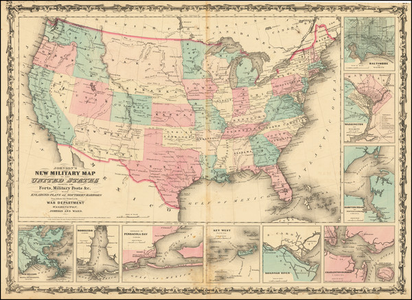 84-United States, Arizona and New Mexico Map By Alvin Jewett Johnson  &  Benjamin P Ward