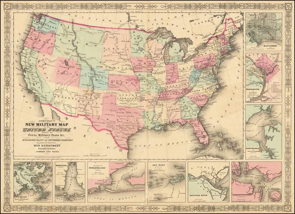 72-United States and Idaho Map By Alvin Jewett Johnson  &  Benjamin P Ward