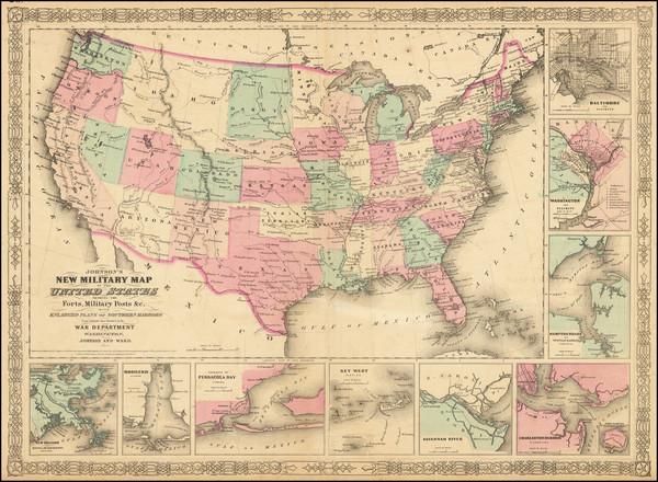 39-United States and Idaho Map By Benjamin P Ward  &  Alvin Jewett Johnson