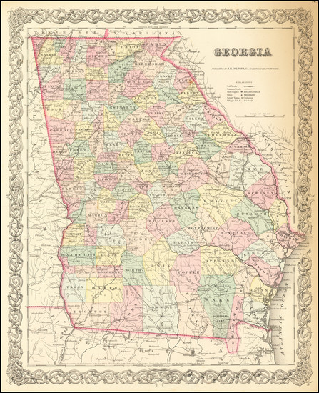 95-Georgia Map By Joseph Hutchins Colton